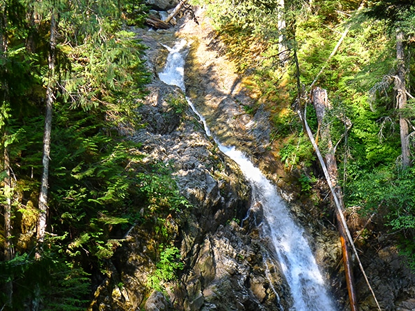 Trail of the Upper Myra Falls hike in Strathcona Provincial Park, Vancouver Island