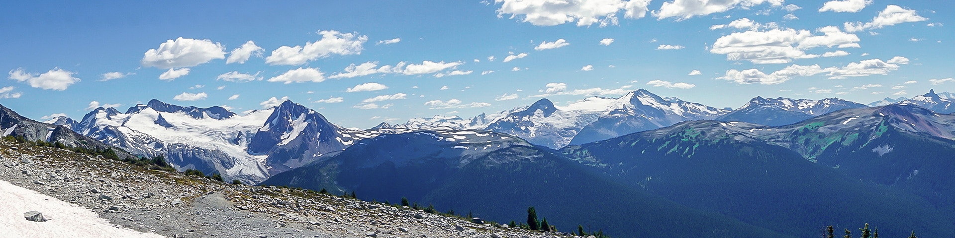 Panorama of the Blackcomb Meadows hike in Whistler, British Columbia