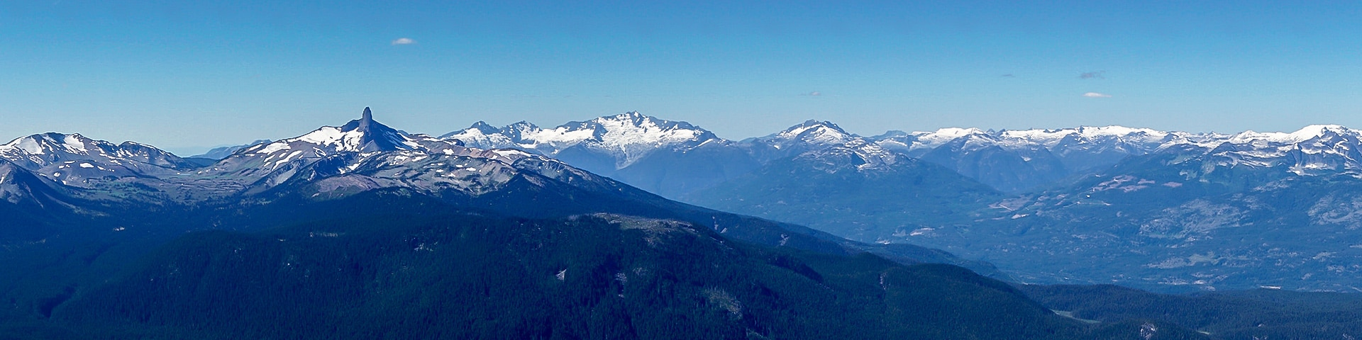 Panorama of the High Note Trail hike in Whistler, British Columbia