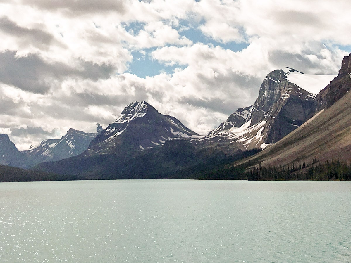 Panoramic picture from the Bow Lake trail in Icefield Parkway, Canada