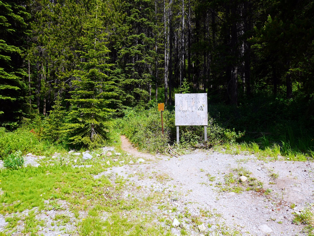 Trailhead of the Paget Lookout & Sherbrooke Lake Hike in Yoho National Park, Canada
