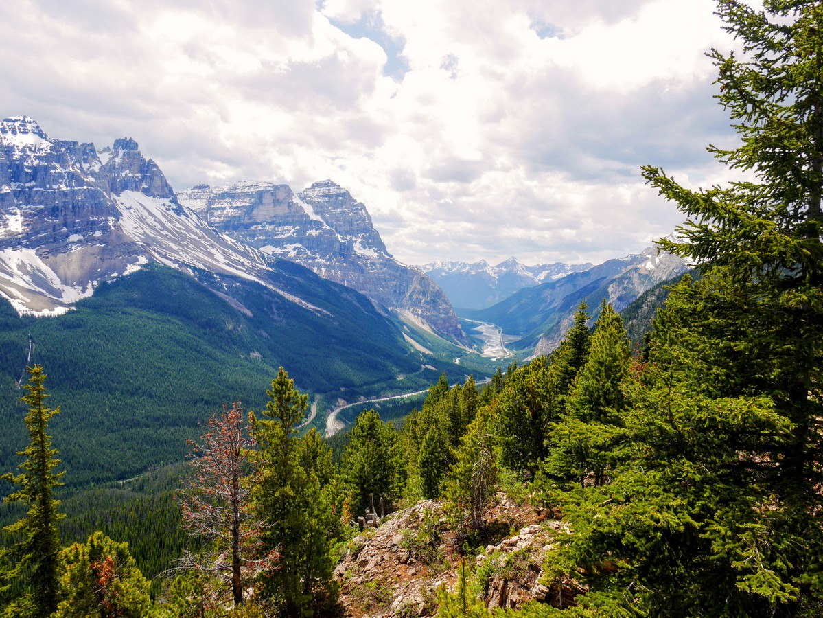 Looking down to Kicking Horse Valley on the Paget Lookout & Sherbrooke Lake Hike in Yoho National Park, Canada