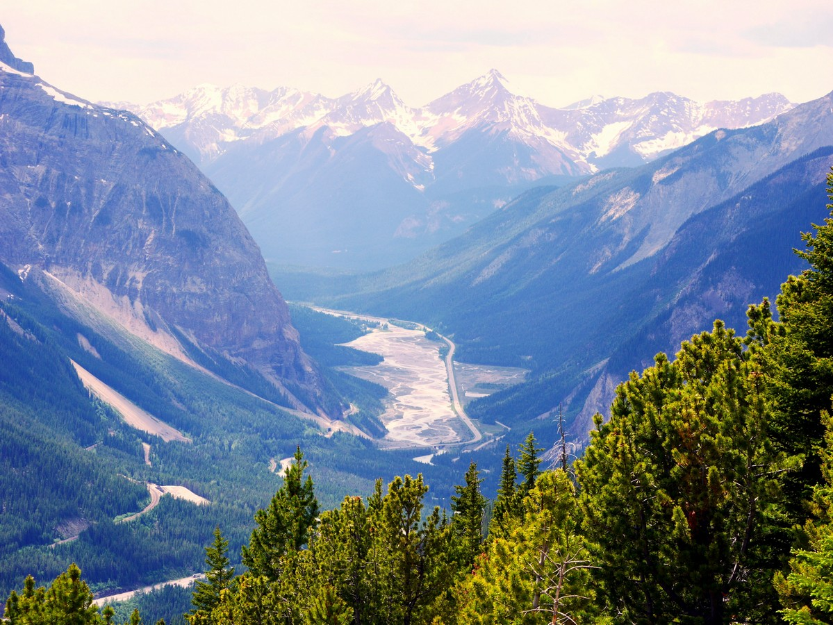 Kicking Horse river flats and upper spiral tunnel on the Paget Lookout & Sherbrooke Lake Hike in Yoho National Park, Canada