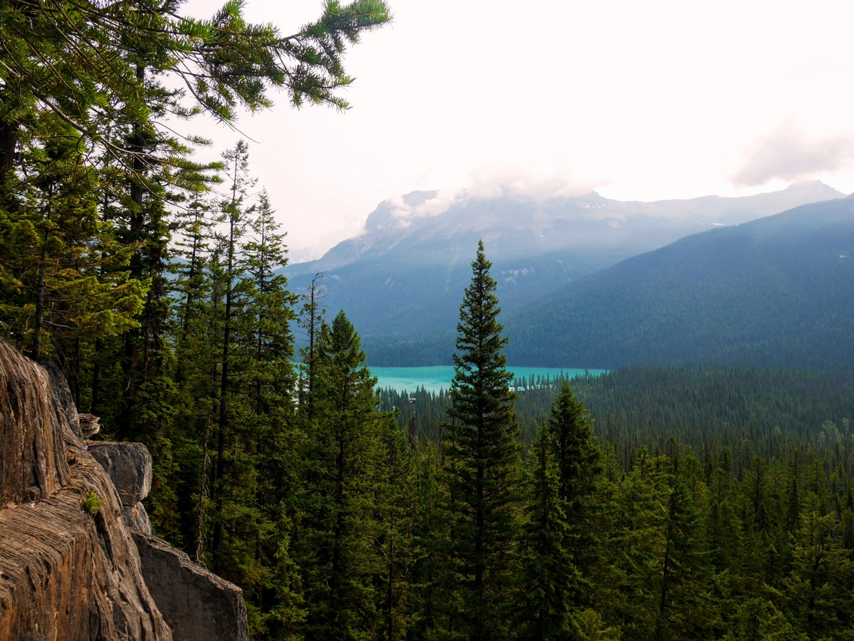 View to Emerald Lake on the Hamilton Lake Hike in Yoho National Park, British Columbia