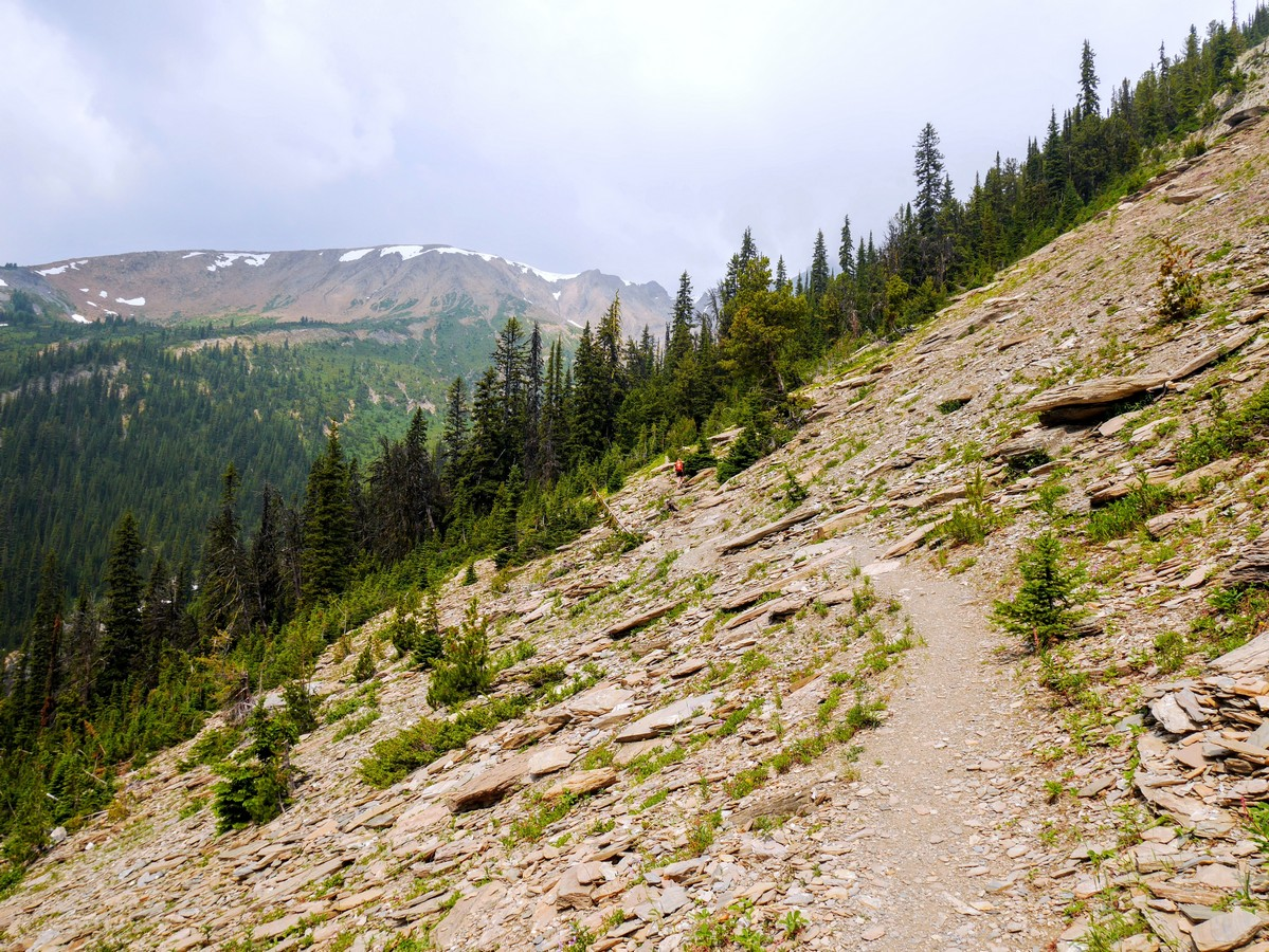 Scree slope and the trail of the Hamilton Lake Hike in Yoho National Park, British Columbia