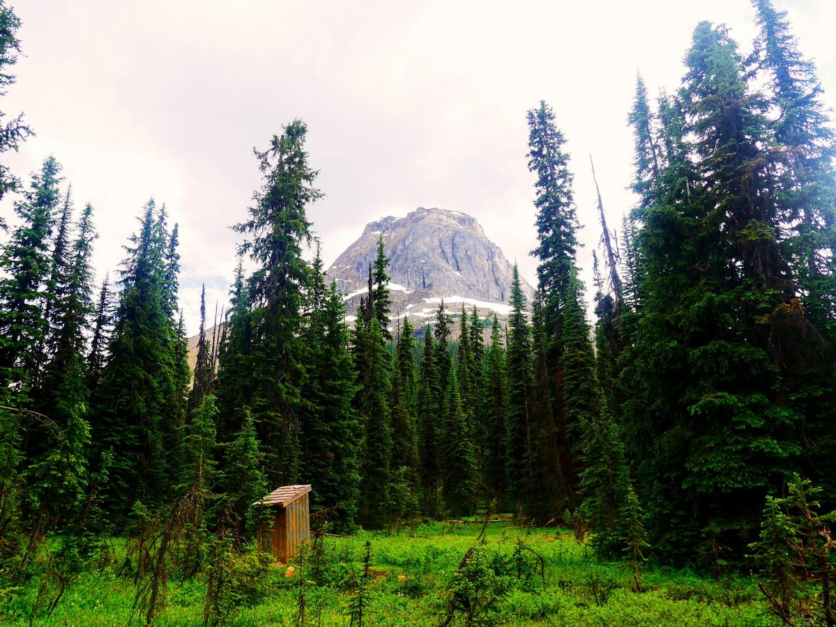 Outhouse with a view of Mt Wapta on the Yoho Lake Hike in Yoho National Park, British Columbia