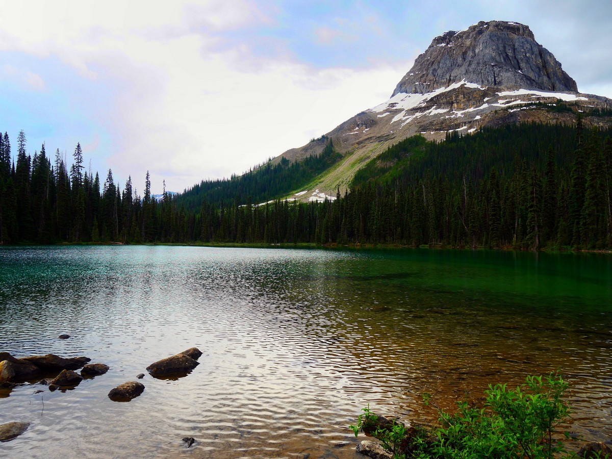 Views of the lake and Mt Wapta on the Yoho Lake Hike in Yoho National Park, British Columbia