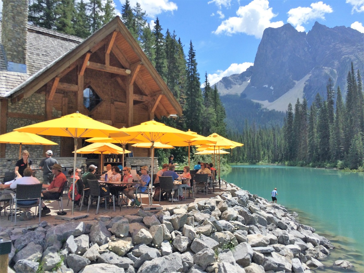 The best patio in the Rockies at the Emerald Lake Circuit Hike in Yoho National Park