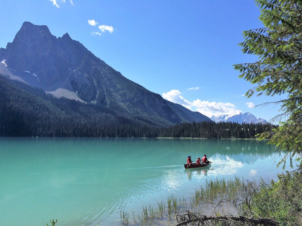 Canoeing on the Emerald Lake Circuit Hike in Yoho National Park