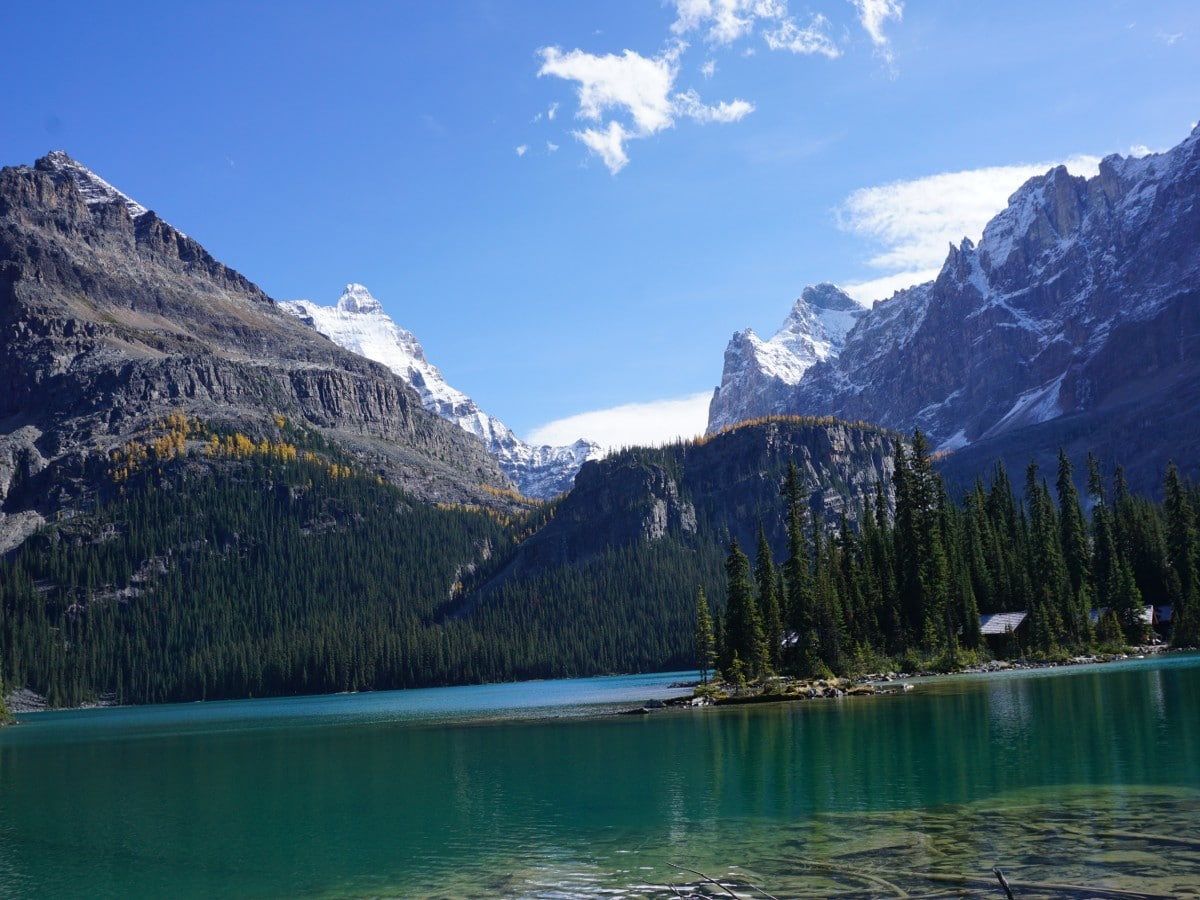 Cabins on the Lake O'Hara All Souls Route Hike in Yoho National Park, Canada