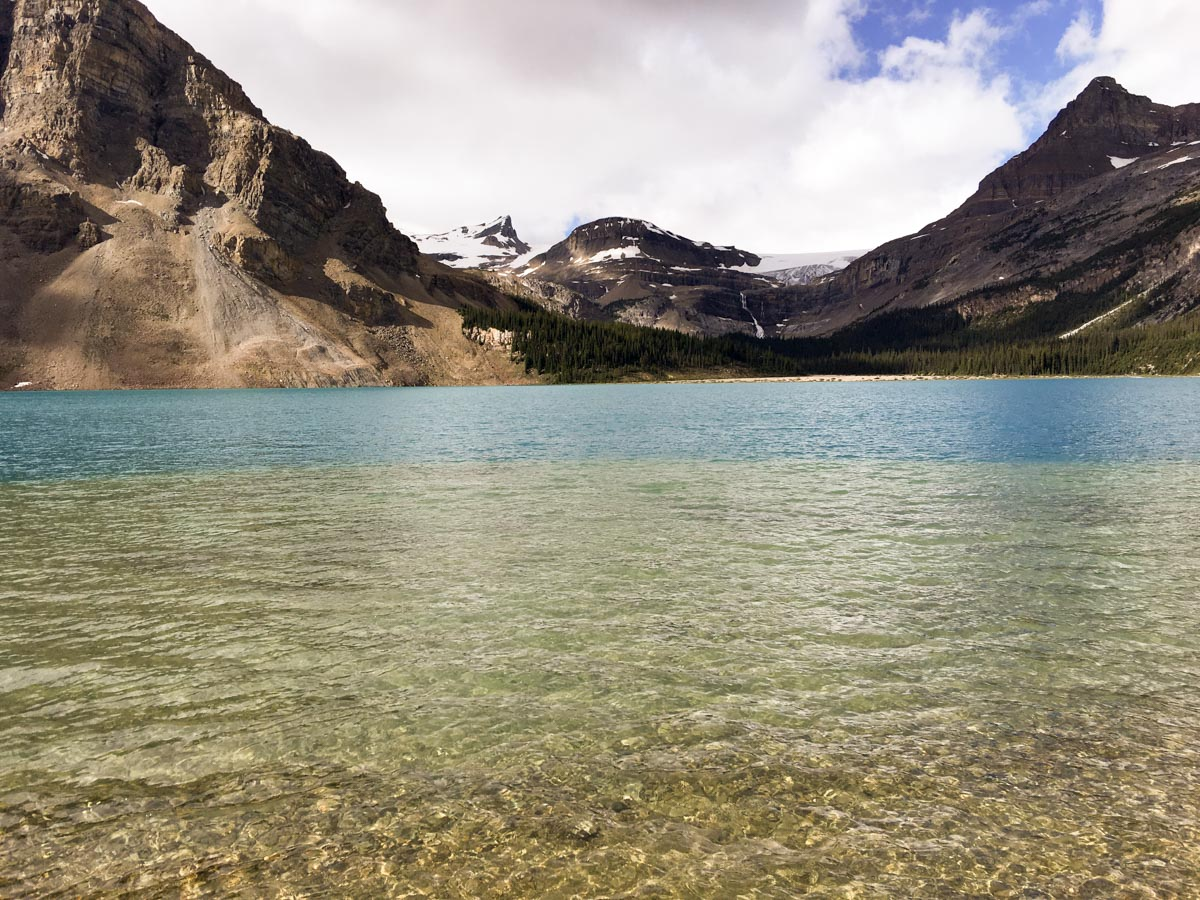 Bow Glacier above the lake on Bow Lake hike from Icefields Parkway, Alberta, Canada