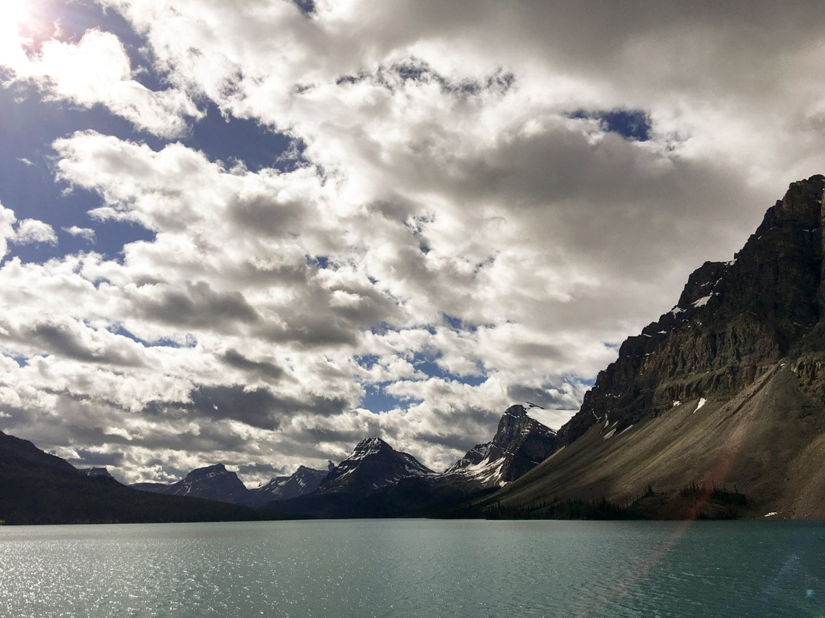 Stunning views around Bow Lake walk from Icefields Parkway, Alberta, Canada