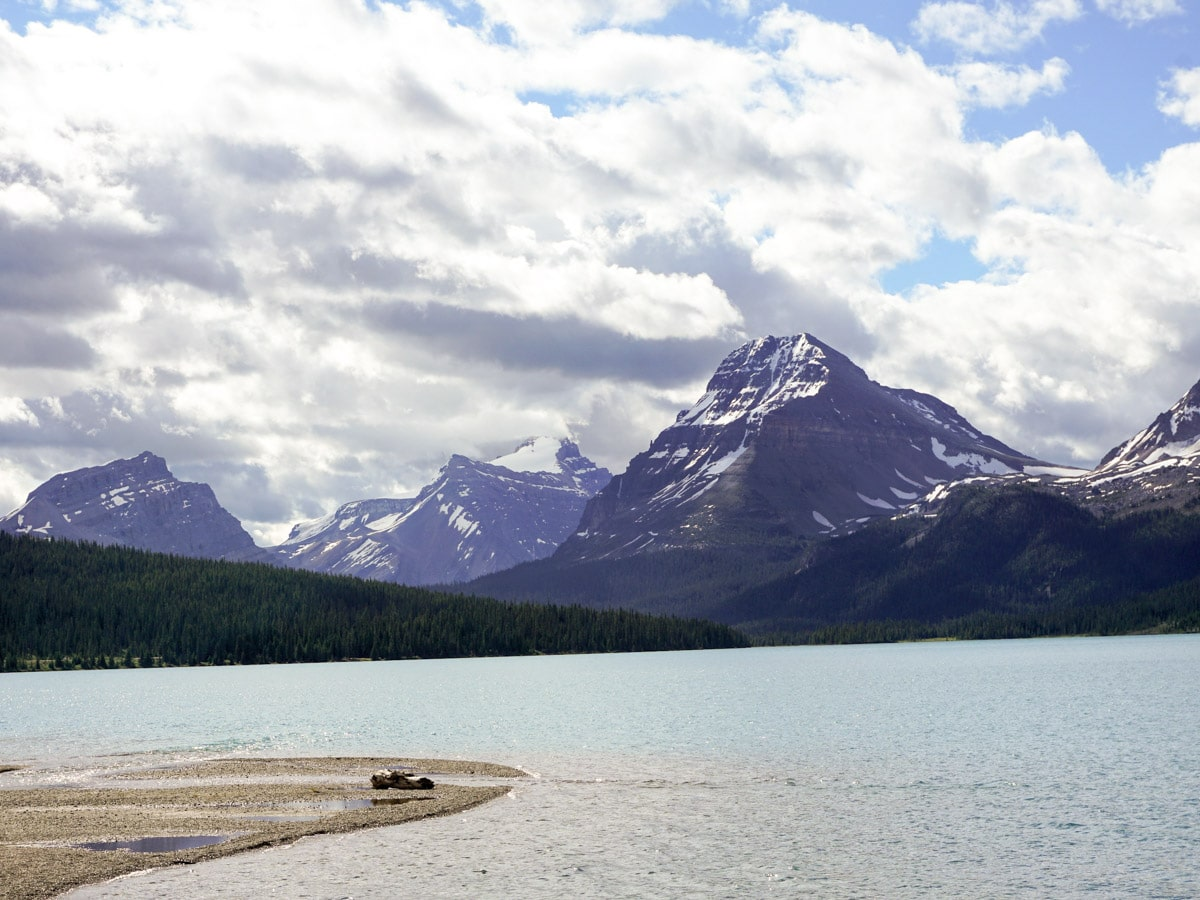 Summer views on Bow Lake walk from Icefields Parkway, Alberta, Canada