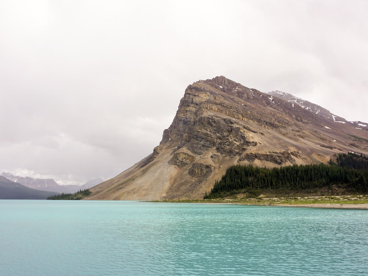 Blue water on Bow Lake walk from Icefields Parkway, Alberta, Canada