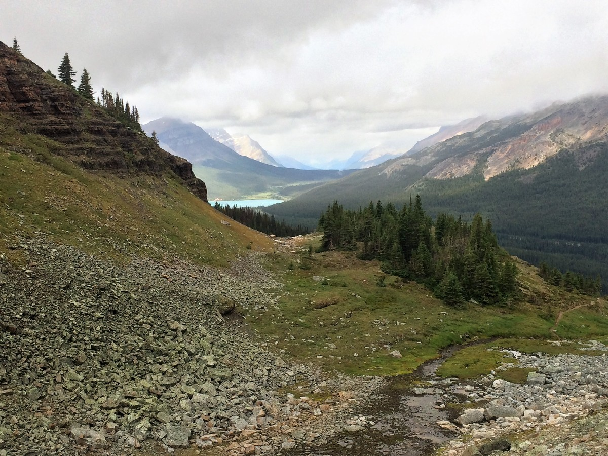 Looking back on Bow Lake on the Crowfoot Pass and Balfour Viewpoint Hike from the Icefields Parkway near Banff National Park