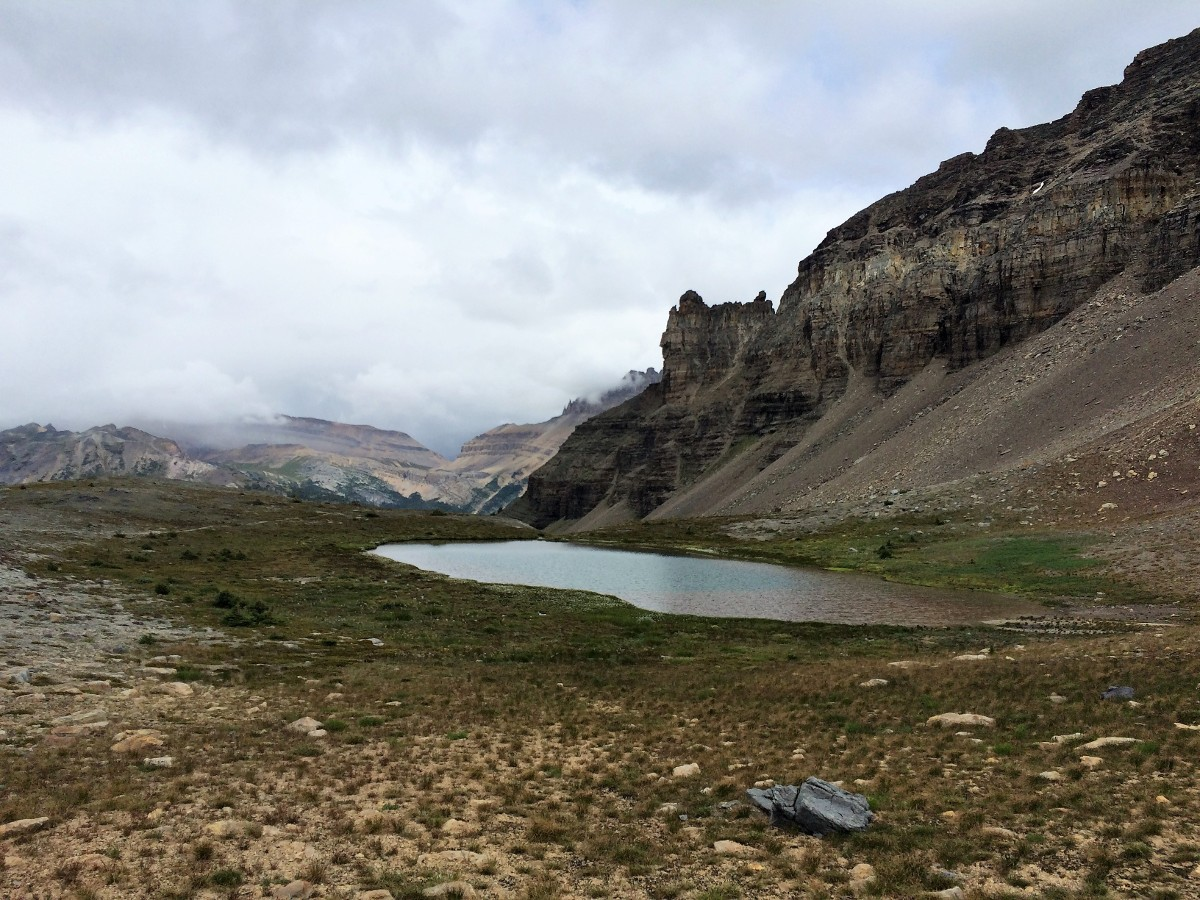 A tarn on the Crowfoot Pass and Balfour Viewpoint Hike from the Icefields Parkway near Banff National Park