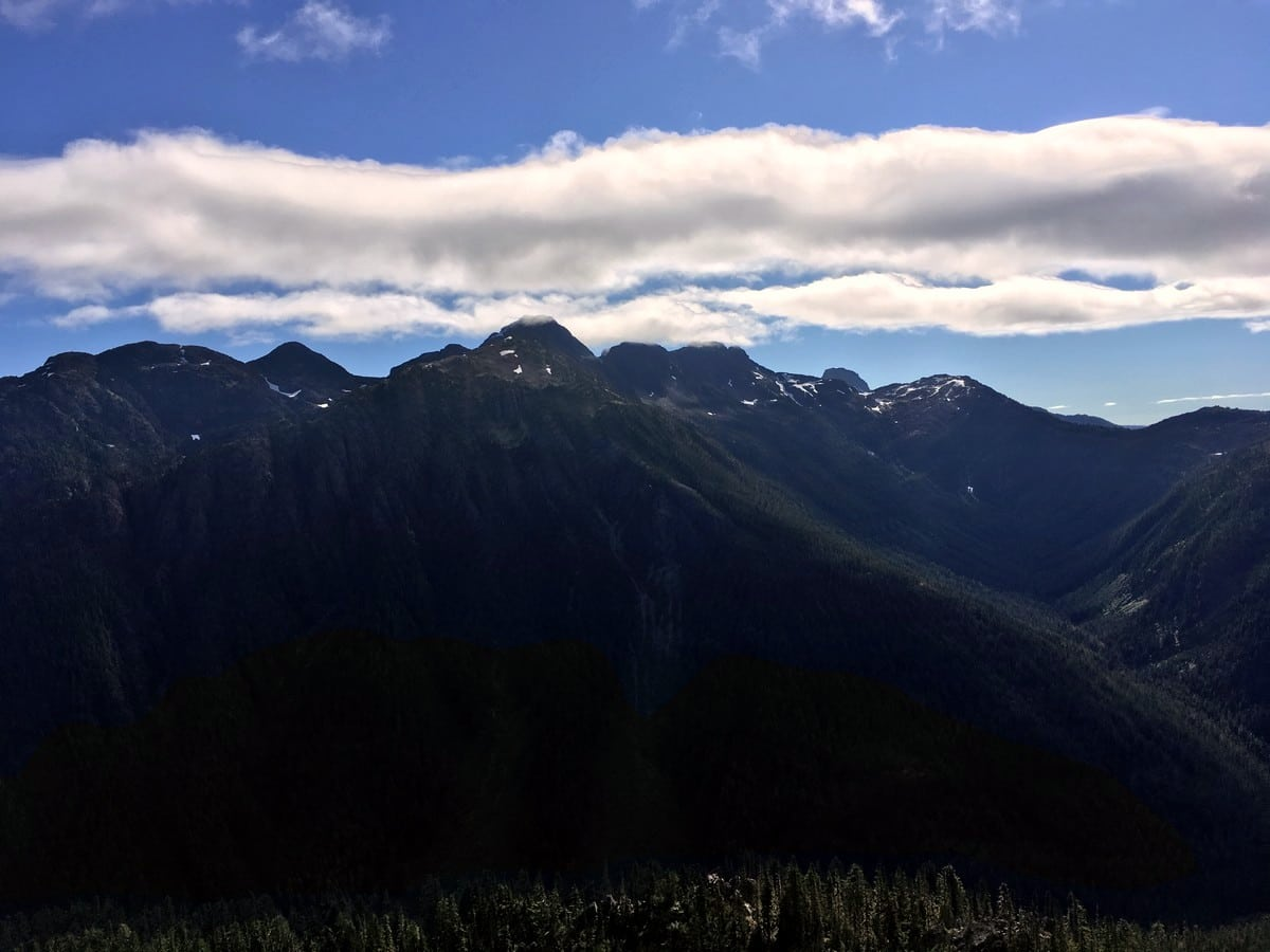 Looking southeast towards the mountains surrounding the Comox glacier from the Flower Ridge Hike in Strathcona Provincial Park, Canada