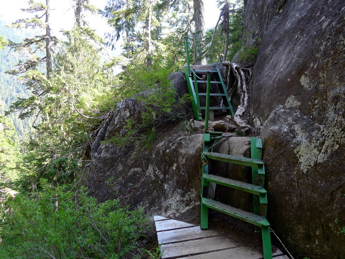 Green staircases on the Bedwell Lake Hike in Strathcona Provincial Park, Canada