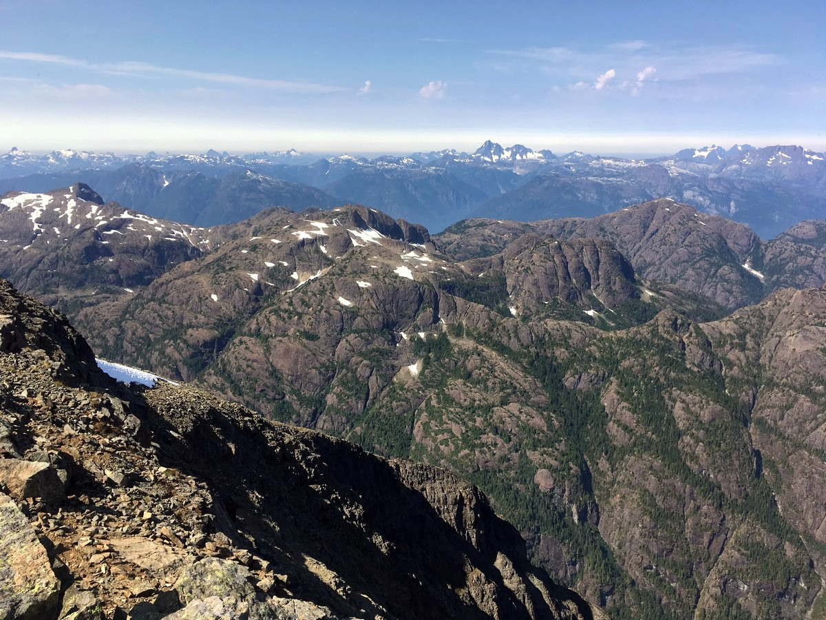 Views of the park peaks on the Mt Albert Edward Hike in Strathcona Provincial Park, Canada