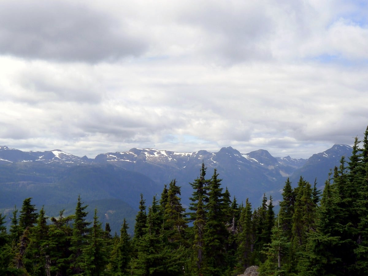 Mountains on the mainland as seen from the Mt Becher Hike in Strathcona Provincial Park, Canada