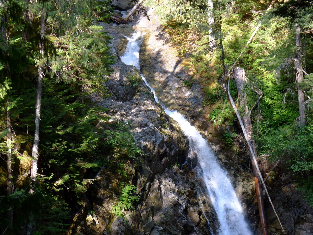 The top of the falls on the Augerpoint Beach Hike in Strathcona Provincial Park, Canada