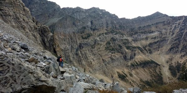 Talus slope and tunnel approach on the Crypt Lake Hike in Waterton Lakes National Park, Canada