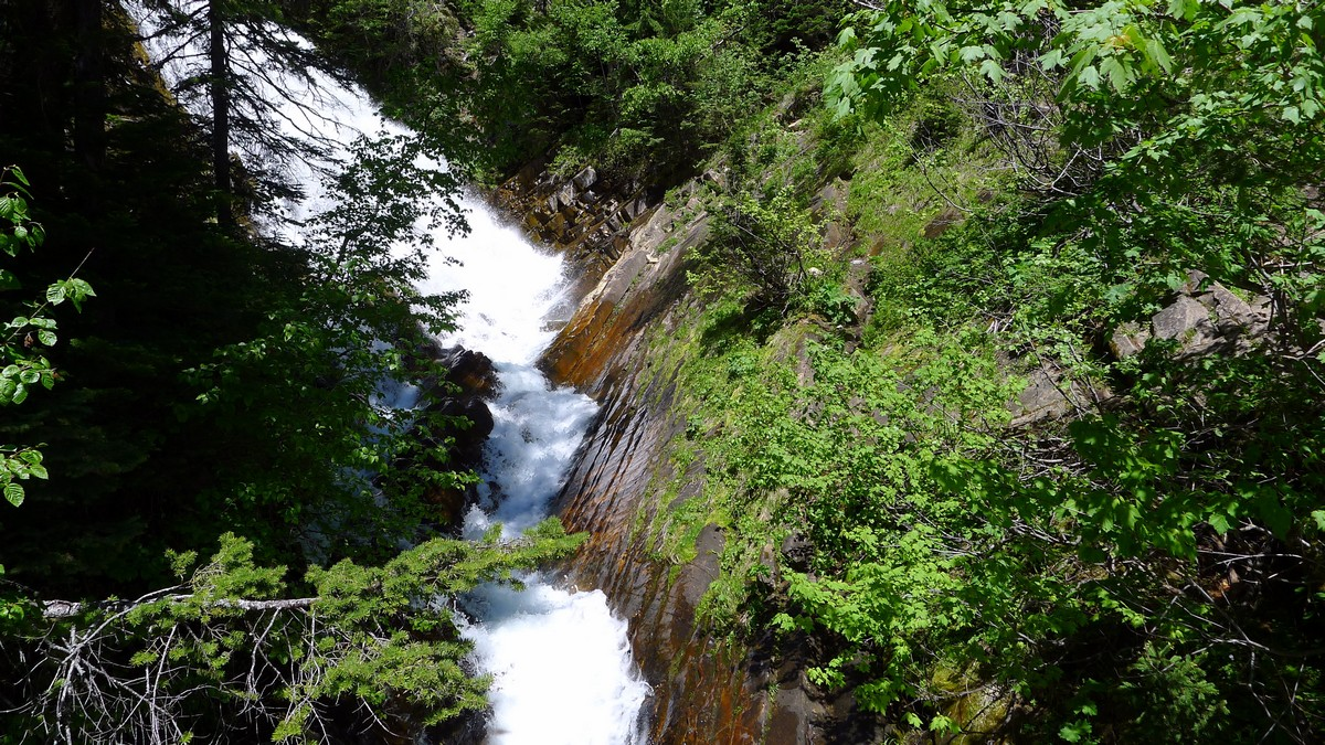 Lower Bertha Falls on the Bertha Lake and Falls Hike in Waterton Lakes National Park, Canada