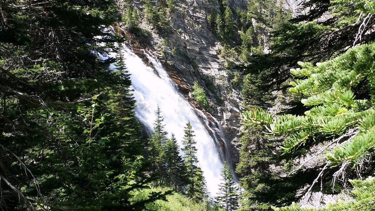 Upper Bertha Falls on the Bertha Lake and Falls Hike in Waterton Lakes National Park, Canada