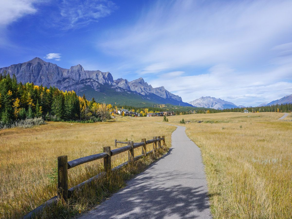 Beautiful trail on the Bow River Trail Hike in Canmore, Alberta