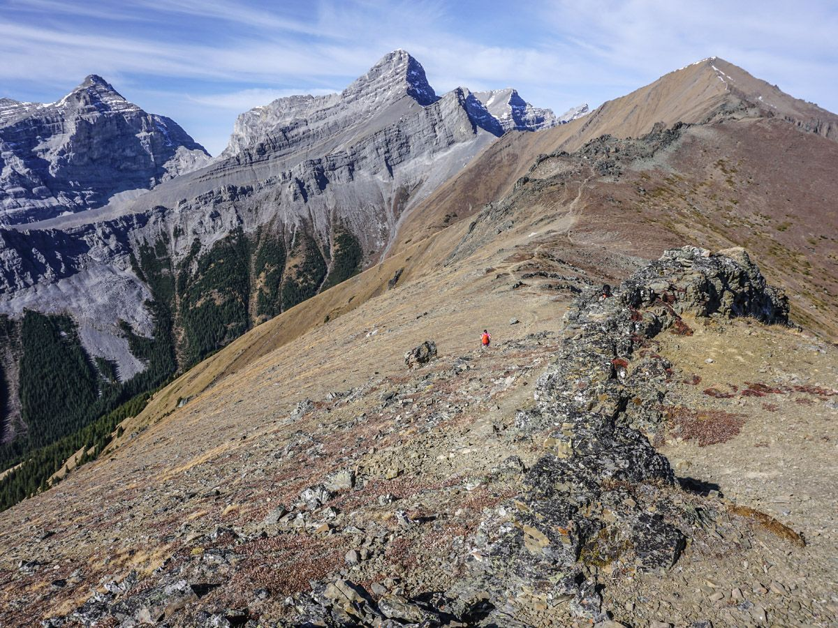 Mountain hiking trail on the ridge on Centennial Pass and Mount Allan Summit Hike in Canmore