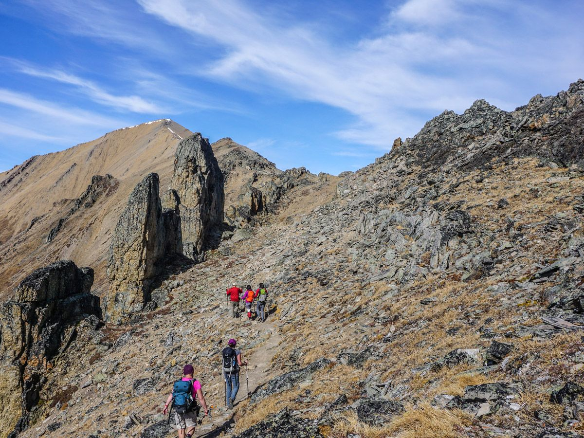 hikers at Centennial Pass and Mount Allan Summit Hike in Canmore
