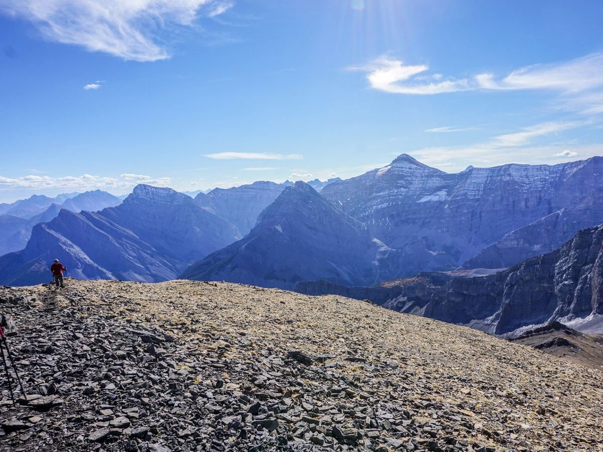 Hikers and amazing mountain views on Centennial Pass and Mount Allan Summit Hike in Canmore