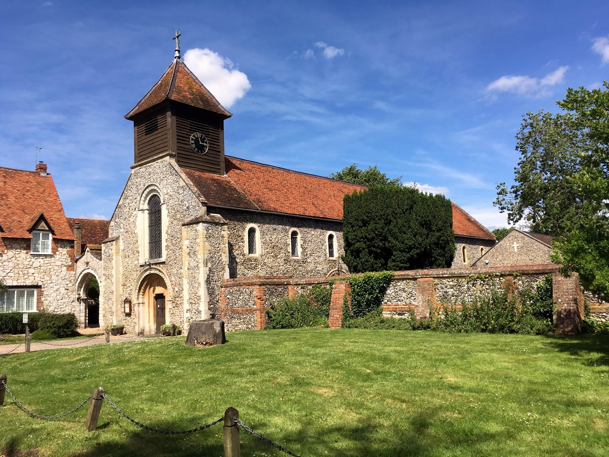 St Mary the Virgin Church on the Hurley Loop Hike in Chiltern Hills, England