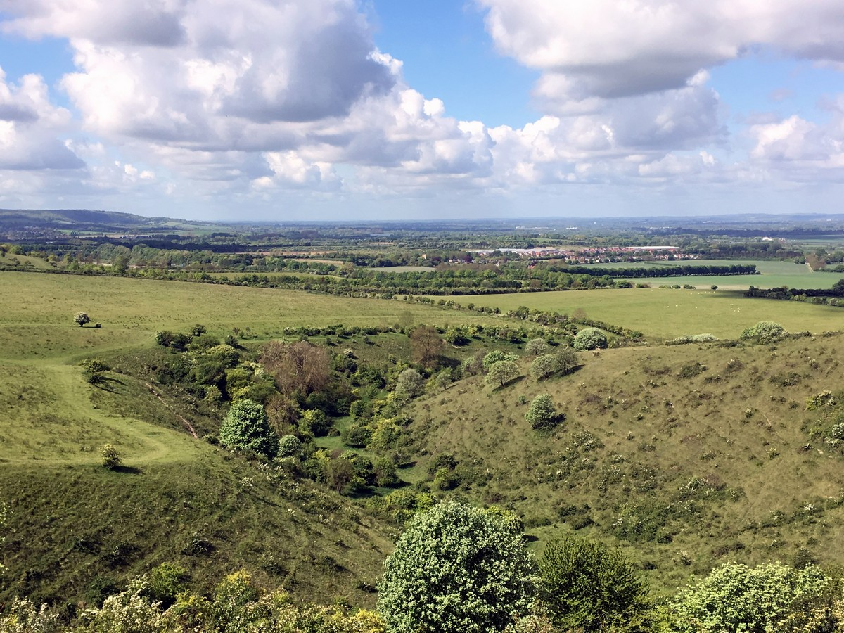 View across the escarpment below on the Ashridge Boundary Trail Hike in Chiltern Hills, England