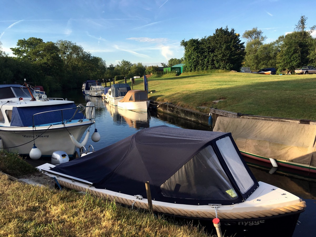 Boats in the marina along the Hambledon Lock Hike in Chiltern Hills, England