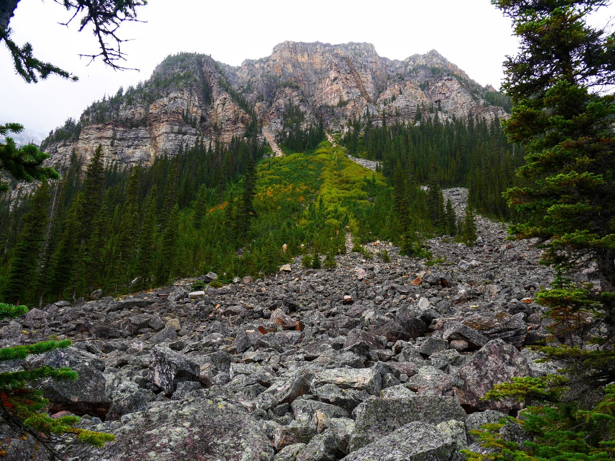 Debris below Howse Peak on the Cirque & Chephren Lakes Hike from the Icefields Parkway near Banff National Park