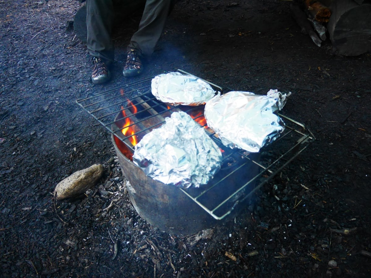 Cooking backcountry pizza