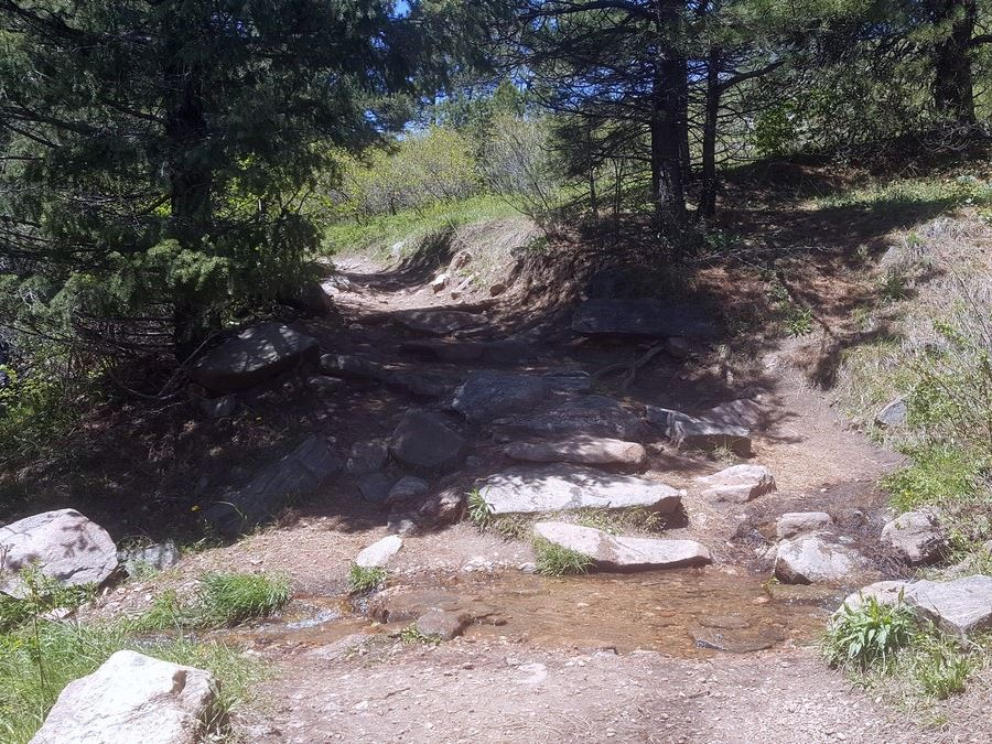 Creek crossing on the Enchanted Forest Trail Hike near Denver, Colorado
