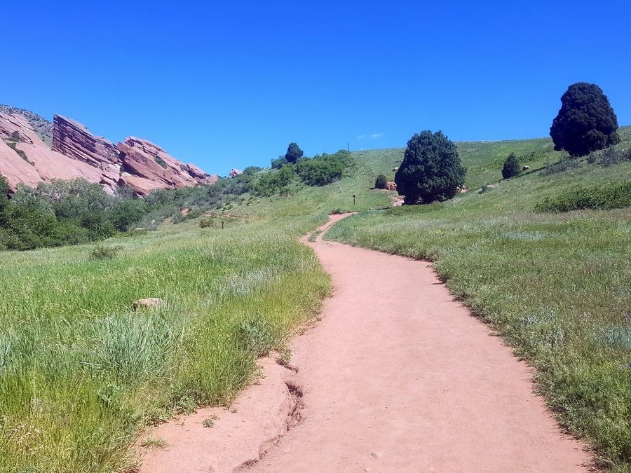 Looking back on Red Rocks Trading Post from the Red Rocks Park Hike near Denver, Colorado