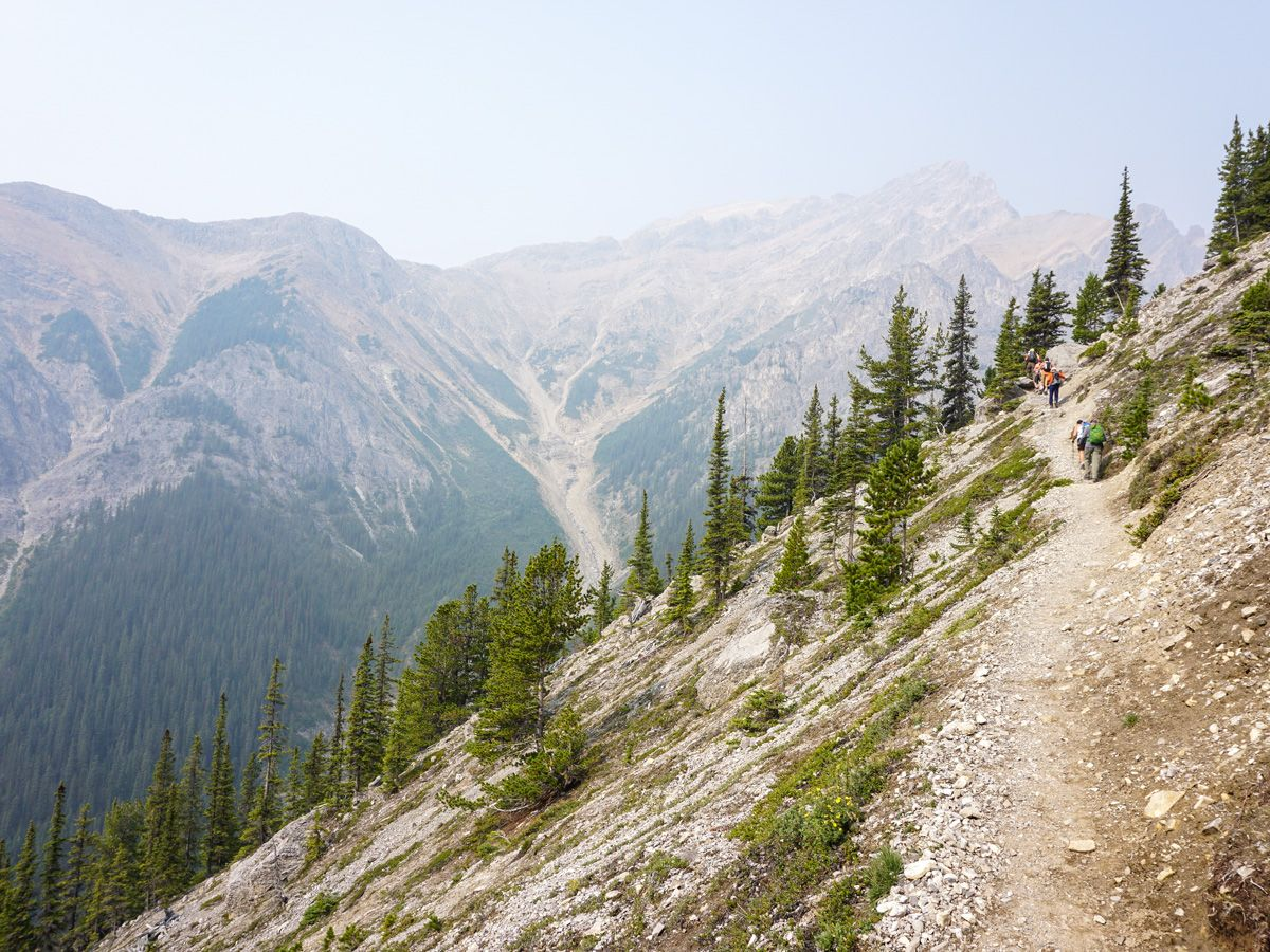 Hikers on a trail of the Edith and Cory Pass Circuit Hike in Banff, Alberta