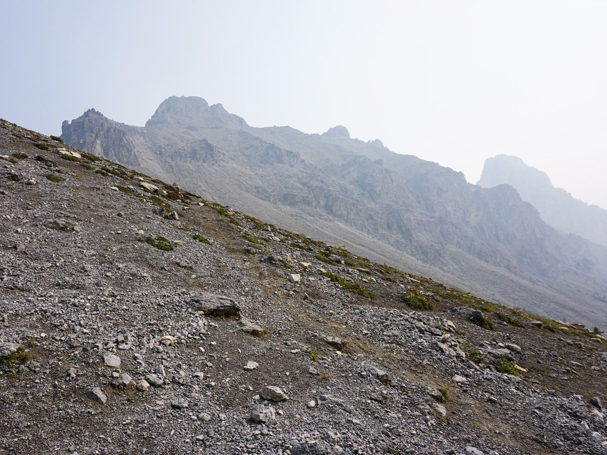 Approaching the peaks on the Edith and Cory Pass Circuit Hike in Banff, Alberta