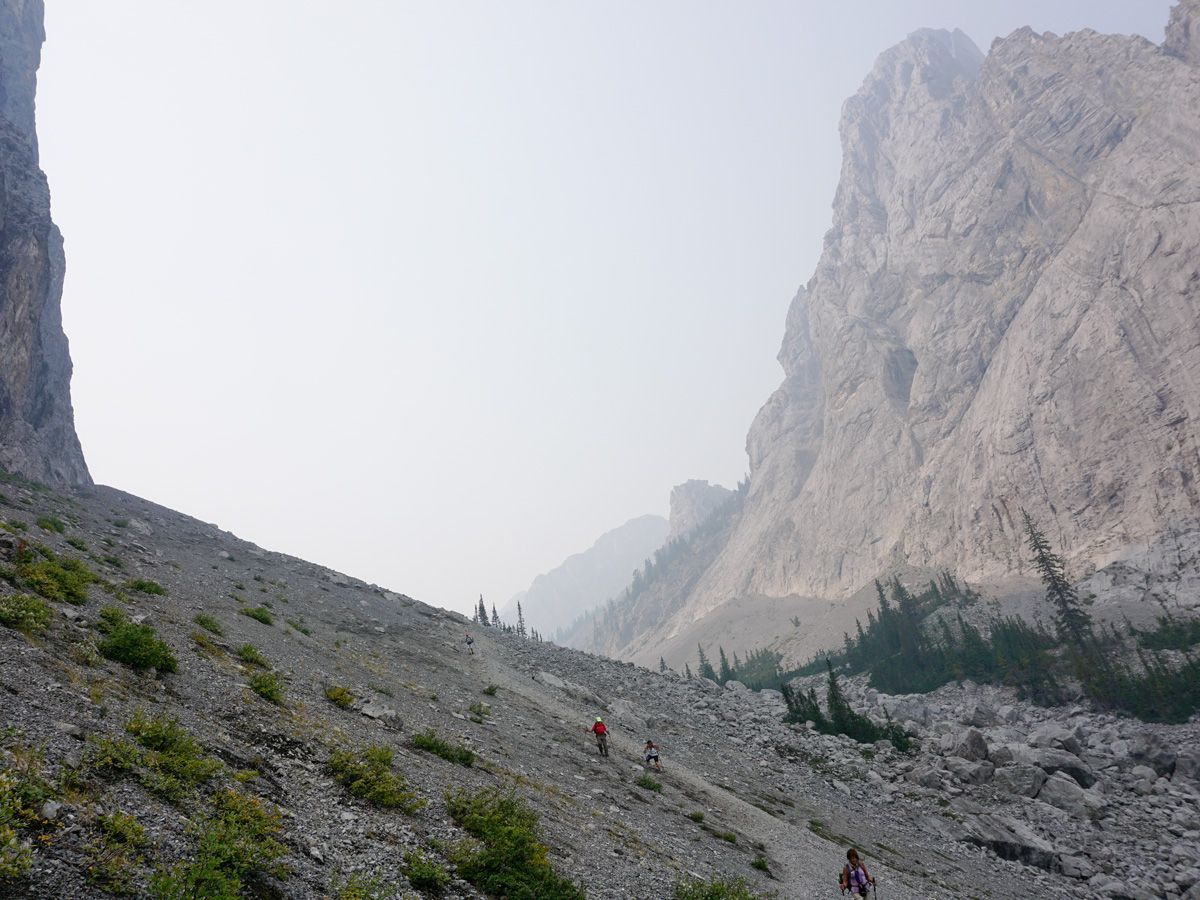 Approaching the pass on the Edith and Cory Pass Circuit Hike in Banff, Alberta
