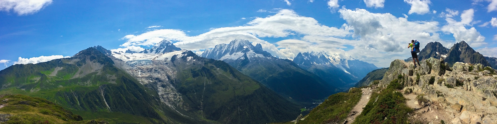 Panorama from the Aiguillettes des Posettes hike in Chamonix, France