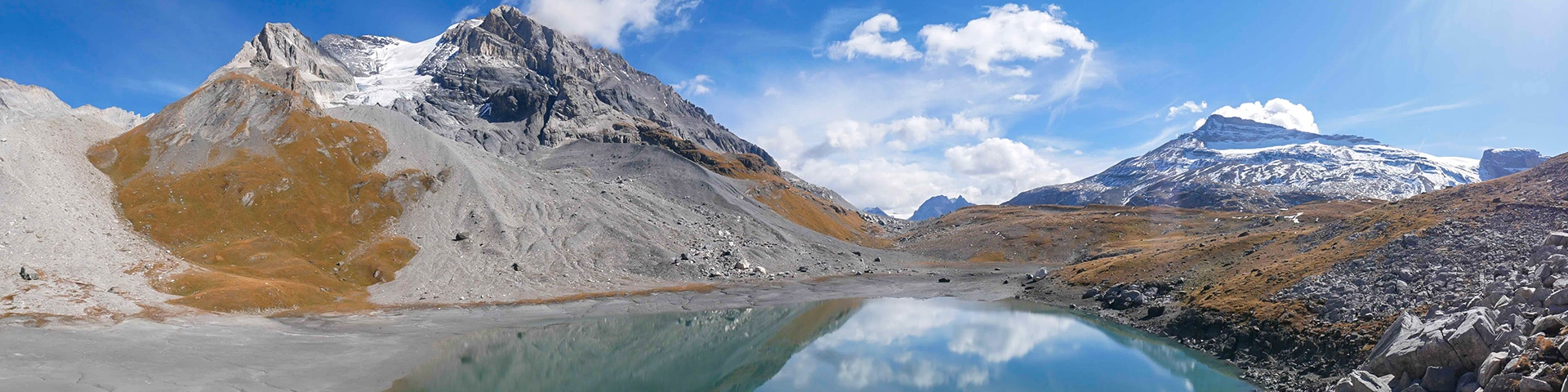 Panorama of the Lac des Vaches hike in Vanoise National Park, France