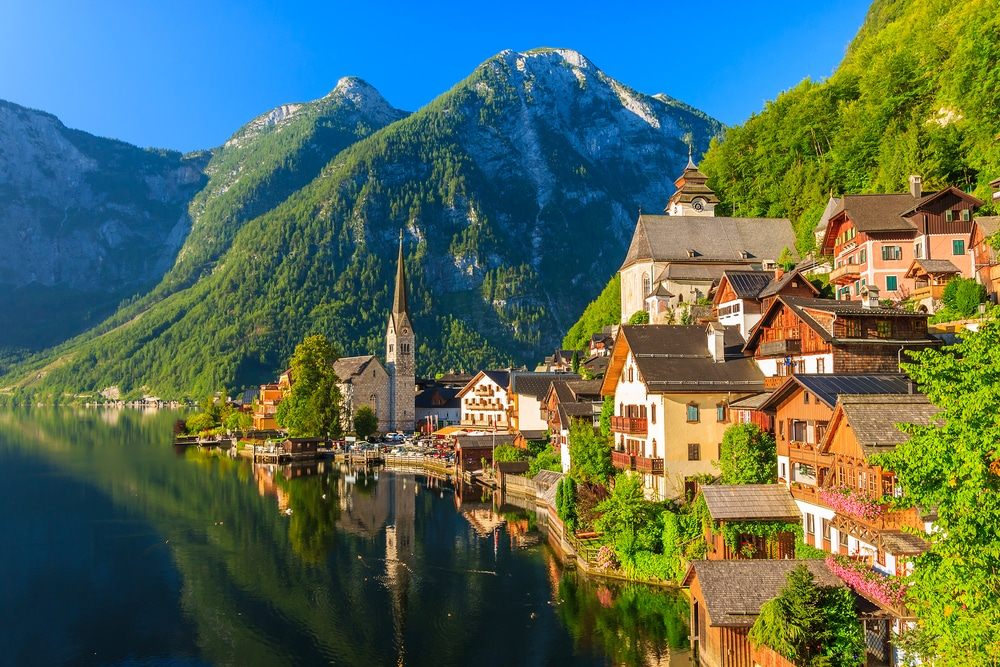 Famous Hallstatt mountain village and alpine lake should be included in your hiking trip to Austrian Alps