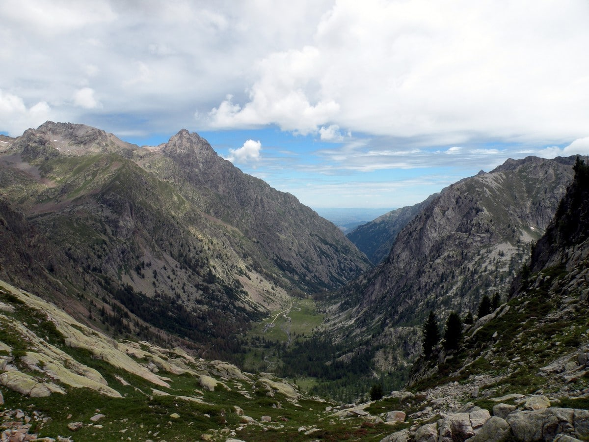View on the Velasco Valley with Monte Matto on the left on the Giro del Valasco Hike in Alpi Marittime National Park, Italy