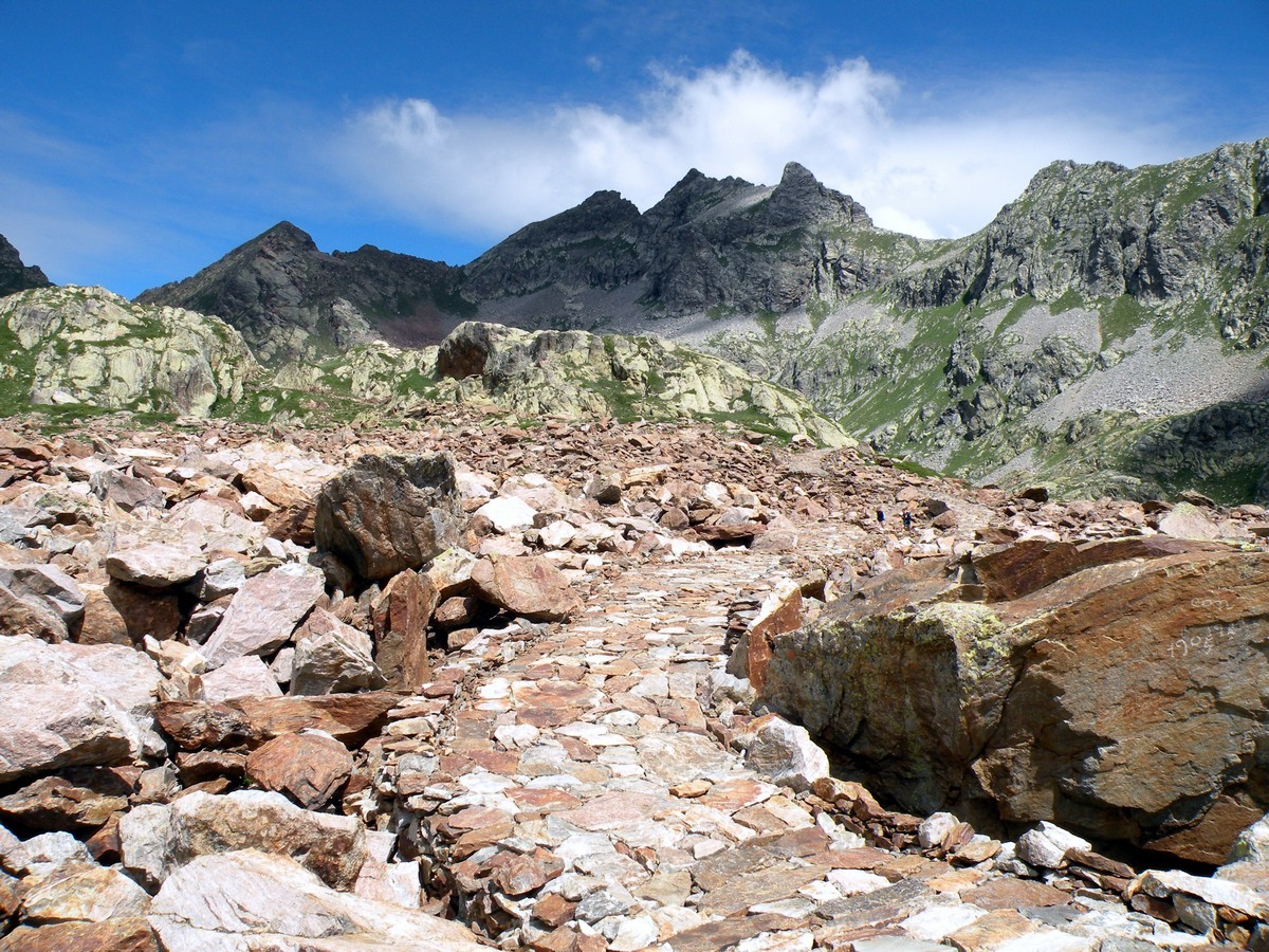 The paved military road on the Giro del Valasco Hike in Alpi Marittime National Park, Italy