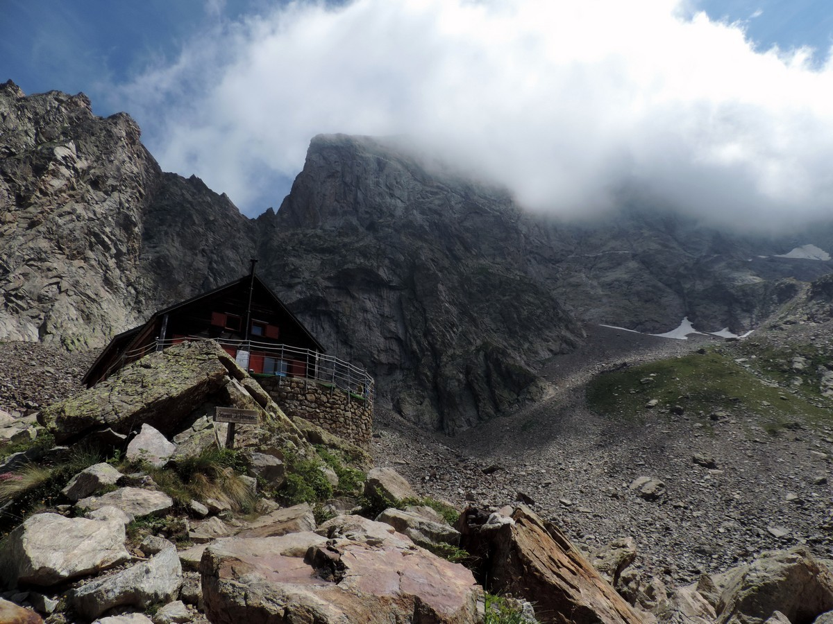 Approaching the hut on the Vallone Argentera Hike in Alpi Marittime National Park, Italy