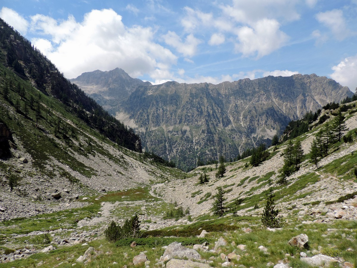 View of the mountain from the Vallone Argentera Hike in Alpi Marittime National Park, Italy