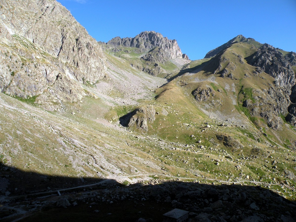 Overview towards Colle di Fenestrelle from the Il Piano del Praiet Hike in Alpi Marittime National Park, Italy
